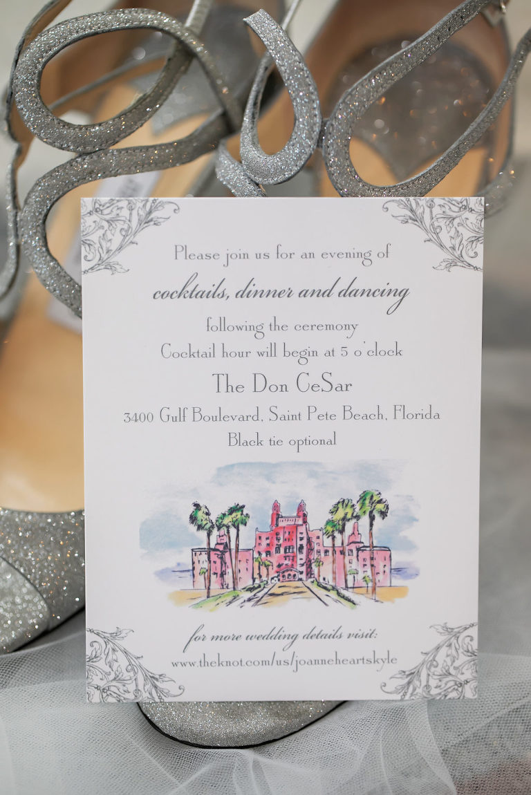 Florida Beach Wedding Invitation with Watercolor Painting of Historic Venue The Don CeSar, Jimmy Choo Bridal Shoes with Silver Straps Open Toe   Tampa Bay Wedding Photographer Limelight Photography