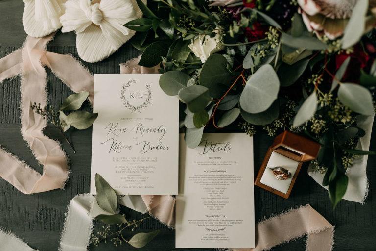 Romantic Dark Garden Themed Wedding, Classic Black and White Wedding Invitation with Monogram   Tampa Bay Wedding Photographer Amber McWhorter Photography