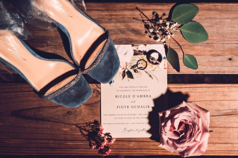 Romantic Floral Wedding Invitation, Dusty Blue Open Sandal with Rhinestone Strap Bridal Wedding Shoes   Tampa Bay Wedding Photographer Bonnie Newman Creative