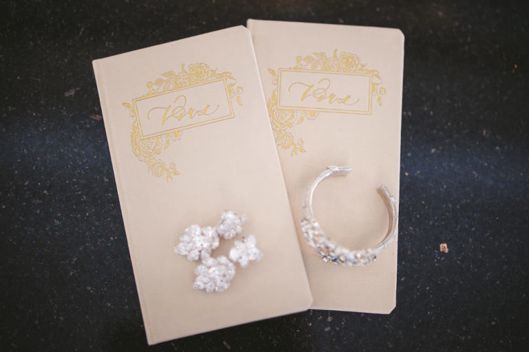 Florida Wedding Vow Books with Gold Embossing Engraved