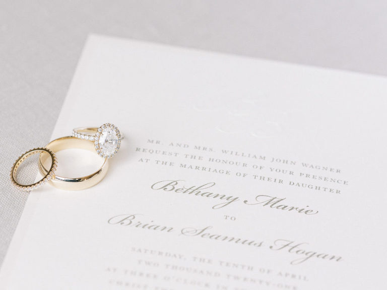 Classic White Wedding Invitation, Oval Diamond Engagement Ring with Halo, Yellow Gold and Diamond Bride Wedding Band, Solid Yellow Gold Groom Wedding Band