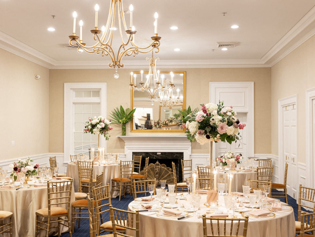 Classic Wedding Reception Decor, Champagne Table Linens, Gold Chiavari Chairs, Tall and Small Floral Centerpieces, White Hydrangeas, Mauve Roses, Greenery | Tampa Bay Wedding Rentals Kate Ryan Event Rentals | Wedding Venue Tampa Yacht and Country Club