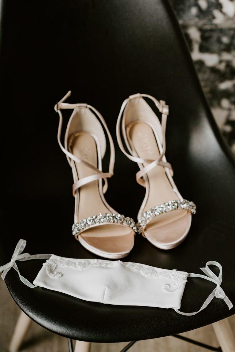 Champagne Satin Bridal Wedding Designer Shoes with Rhinestone Strap | COVID Wedding Embroidered Bridal Bridal Face Mask