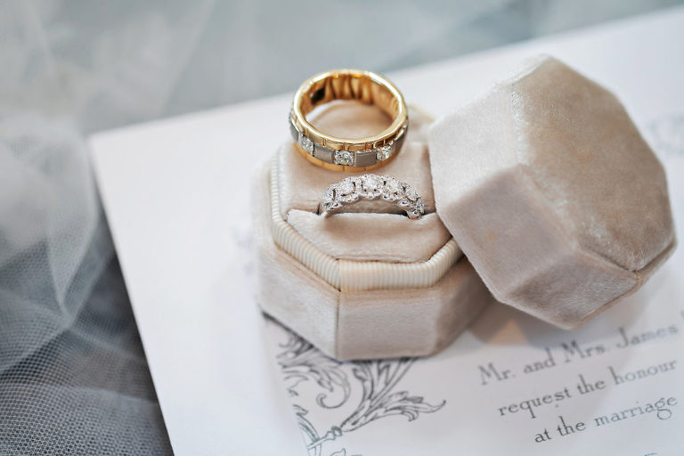 Wedding Bands, Two Toned Gold and Silver Diamond Wedding Band in The Mrs. Box The Copeland Bevel Ringbox   Florida Wedding Photography Limelight Photography