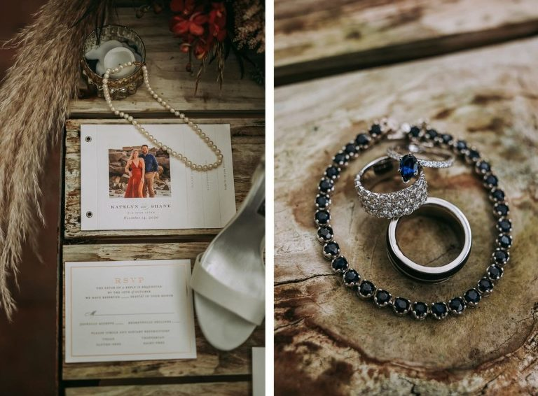 Rustic Wedding Accessories, Custom Photo Wedding Stationery, Blue Diamond Bracelet and Engagement Ring, Diamond Wedding Band
