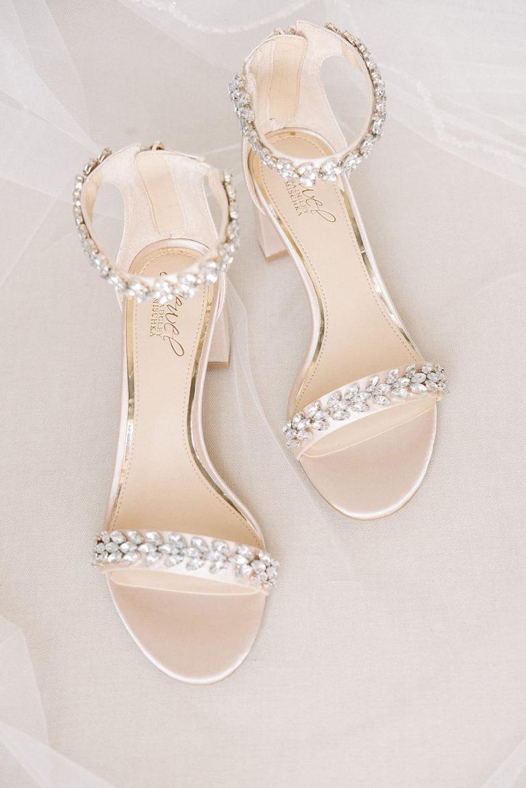 Champagne Badgley Mischka Crystal Straps Bridal Shoes