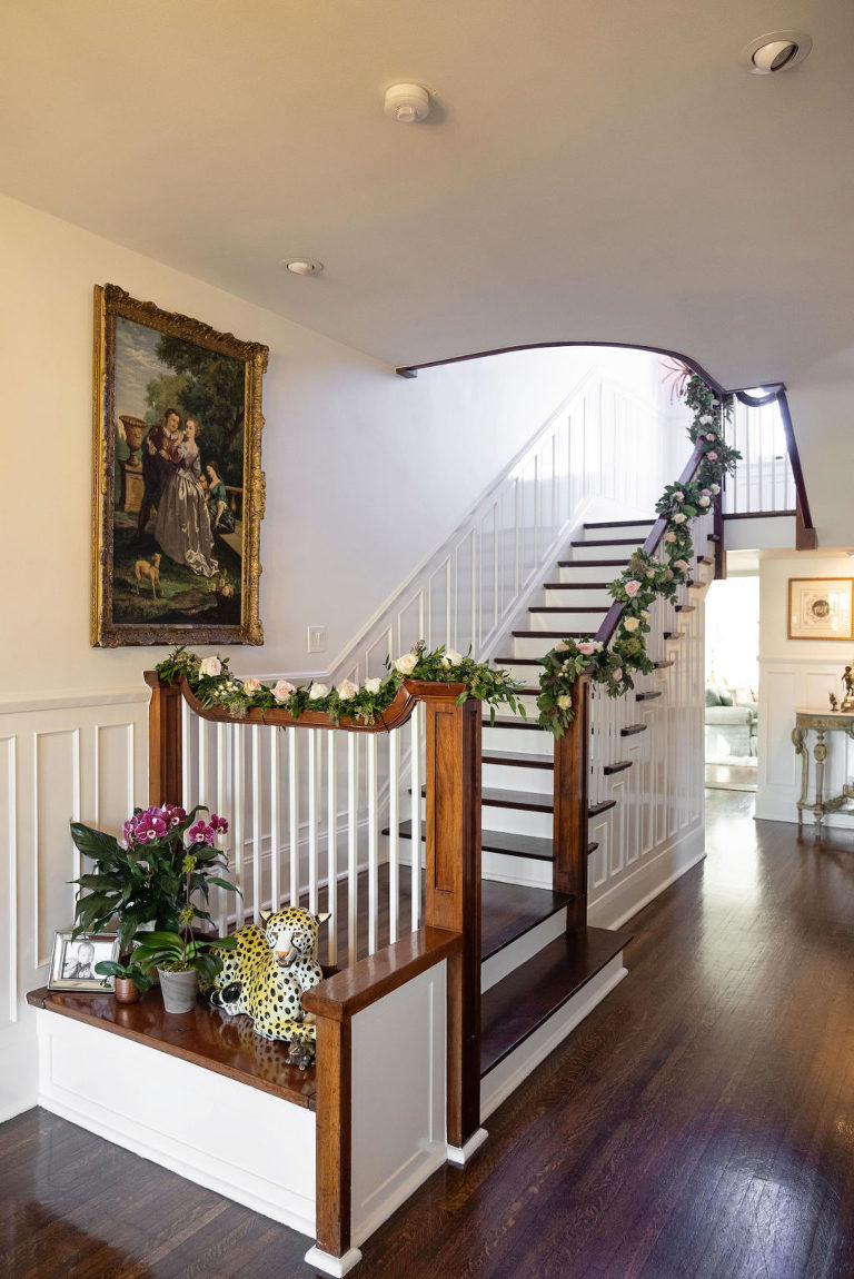 At-Home Wedding Staircase with Floral Garland   Intimate Private Residence Wedding Venue   South Tampa Wedding Florist Bride N Blooms Wholesale Design
