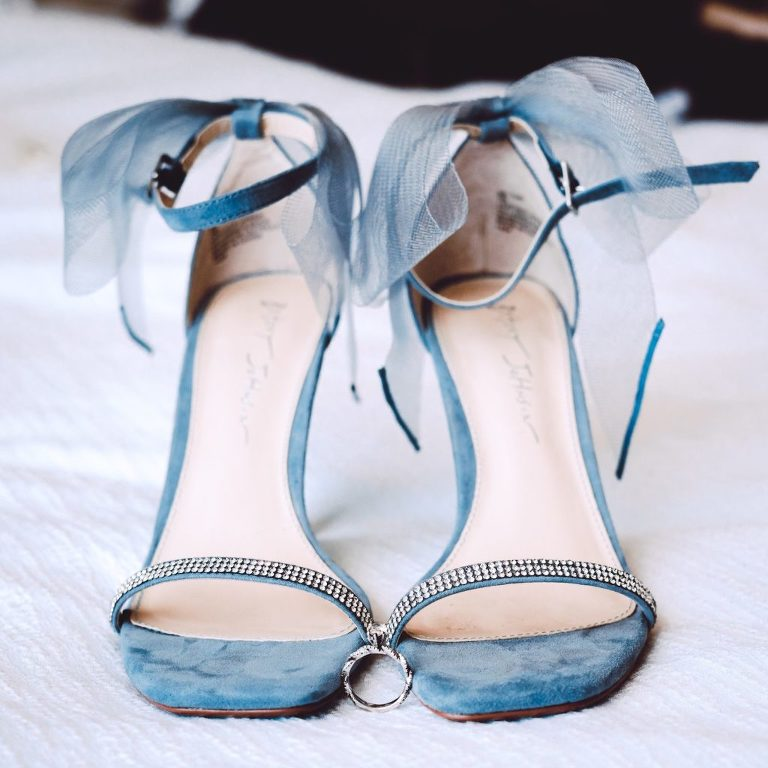 Betsey Johnson Velvet Blue Strappy Sandal Wedding Heels with Bow and Rhinestone Strap, Bride Something Blue   Tampa Bay Wedding Photographer Bonnie Newman Creative