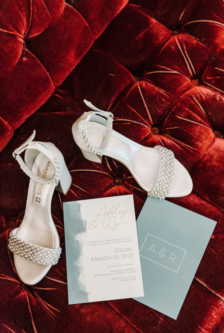 Open Toed Ivory Wedding Shoes with Pearl Detail | Classic and Simple Wedding Invitations | Mago Sisters