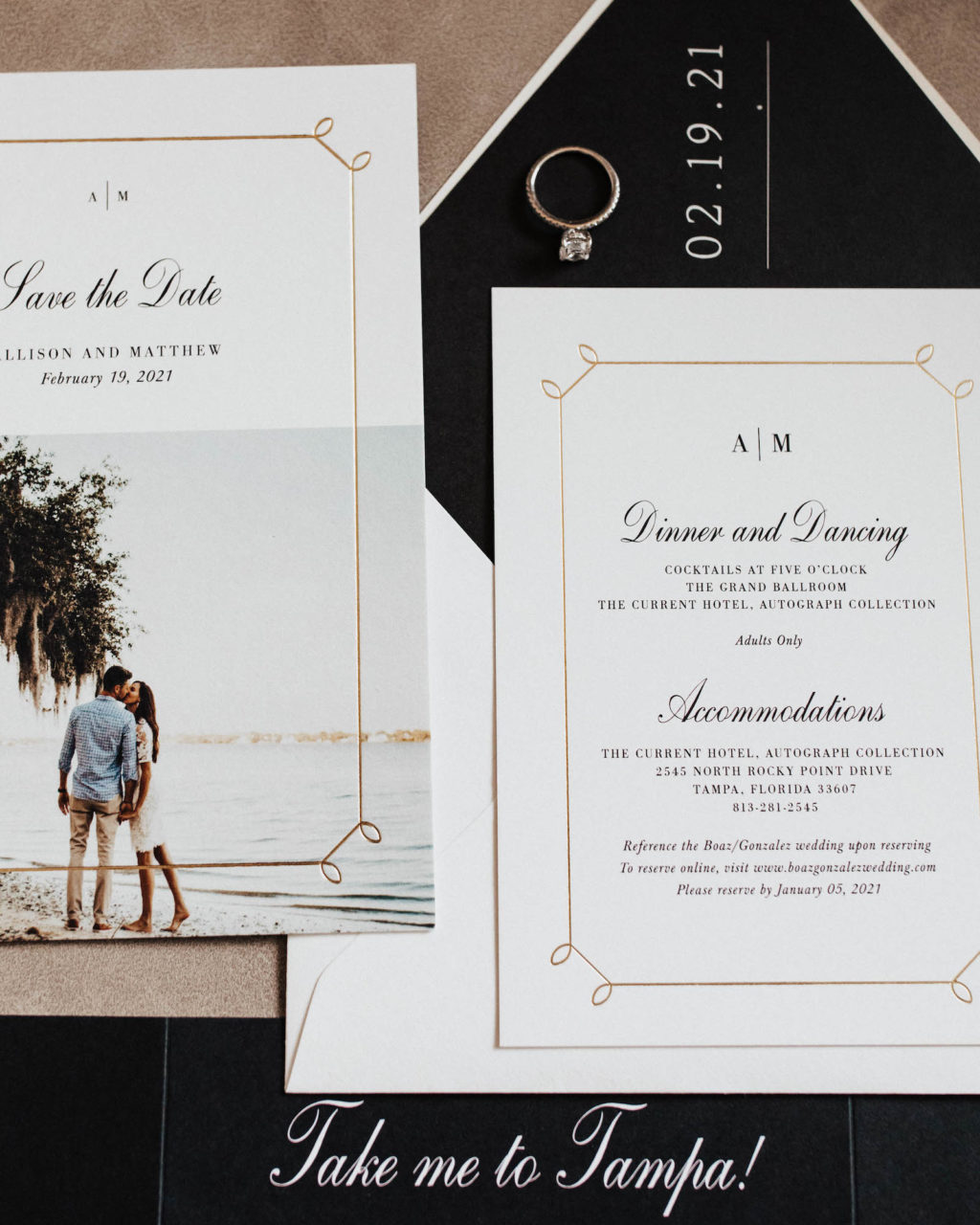 Elegant Black, White and Gold Wedding Invitations | Timeless Wedding Stationery and Save the Dates