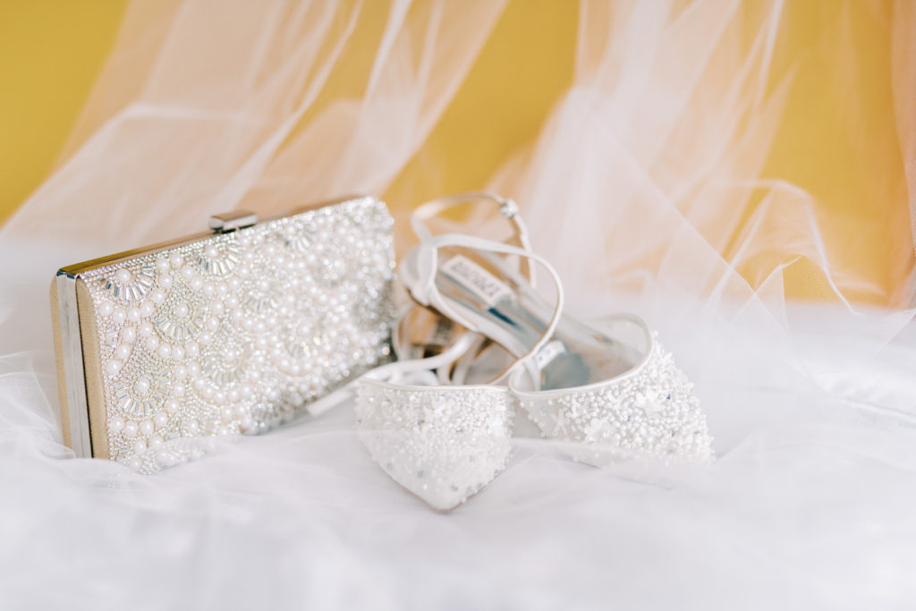 Embellished Pointed Toe White Badgley Mischka Wedding Shoes and Pearl Embellished Clutch Purse | Tampa Bay Wedding Photographer Kera Photography