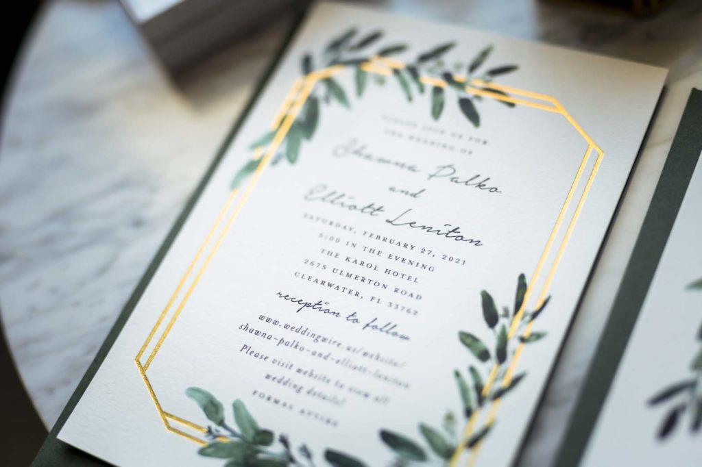 Modern Romantic Gold Foil Geometric Shape and Greenery Leaves Wedding Invitation