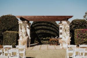 Outdoor Golf Course Wedding Ceremony Venue and Pergola, Pampas Grass in White Vases   Bradenton Wedding Venue The Concession Golf Club