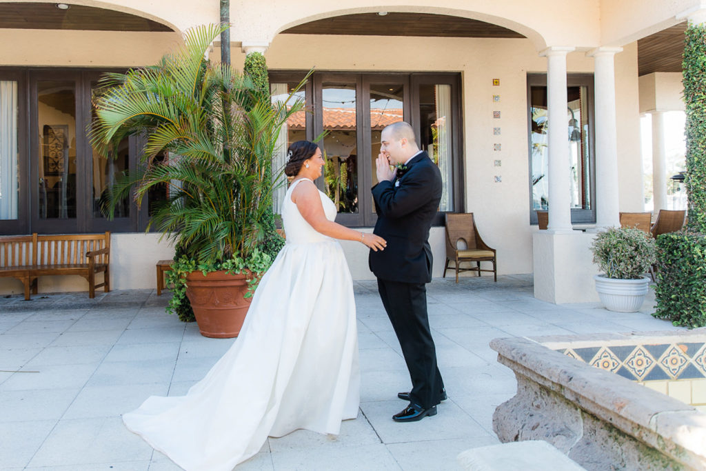 Tampa Bride and Groom First Look Wedding Photo in Courtyard