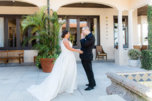 Tampa Bride and Groom First Look Wedding Photo in Courtyard   The Resort at Longboat Key Club