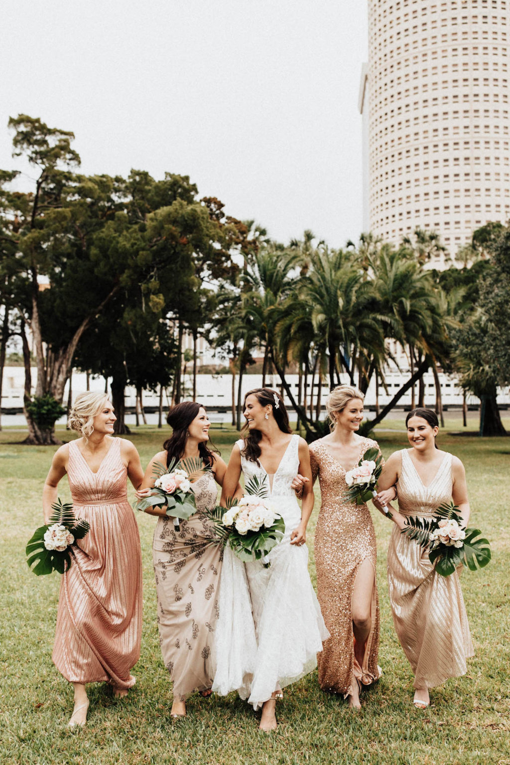 Mis-Matched Modern Gold, Metallic, and Sequined Bridesmaid Dresses | Adrianna Papell