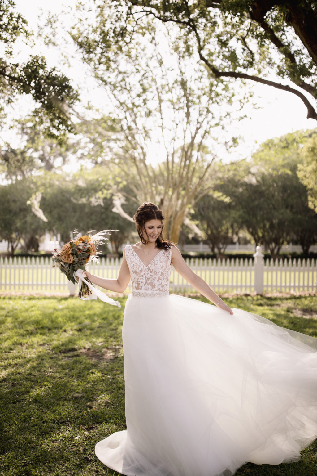 Lace Detail Ballgown Wedding Dress   Florida Bride in her Dress with Bohemian Flower Bouquet   Paloma Blanca, Overskirt: Hayley Paige   Sarasota Wedding Photographer Alisa Sue Photography
