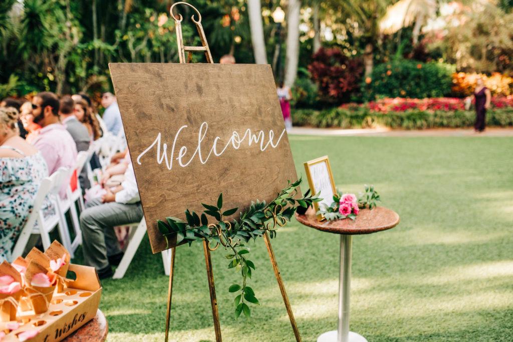 Rustic Wooden Welcome Wedding Ceremony Sign | St. Petersburg Wedding Venue Sunken Gardens