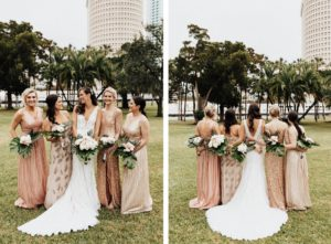 Mis-Matched Modern Gold, Metallic, and Sequined Bridesmaid Dresses with Tropical Palm Leaf Wedding Bouquet | Adrianna Papell