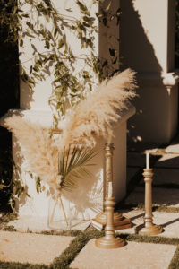 Timeless Wedding Ceremony Decor, Pampas Grass and Palm Fronds in Clear Vase, Tall Gold Candlesticks Wedding Ceremony Decor