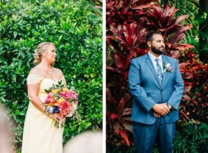 Groom and Maid of Honor Ceremony First Look | Wedding Portrait