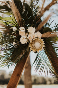 Timeless Wedding Ceremony Decor, Neutral Floral Arrangement, Ivory Roses, Palm Fronds, Monstera Palm Leaves, King Protea Flowers