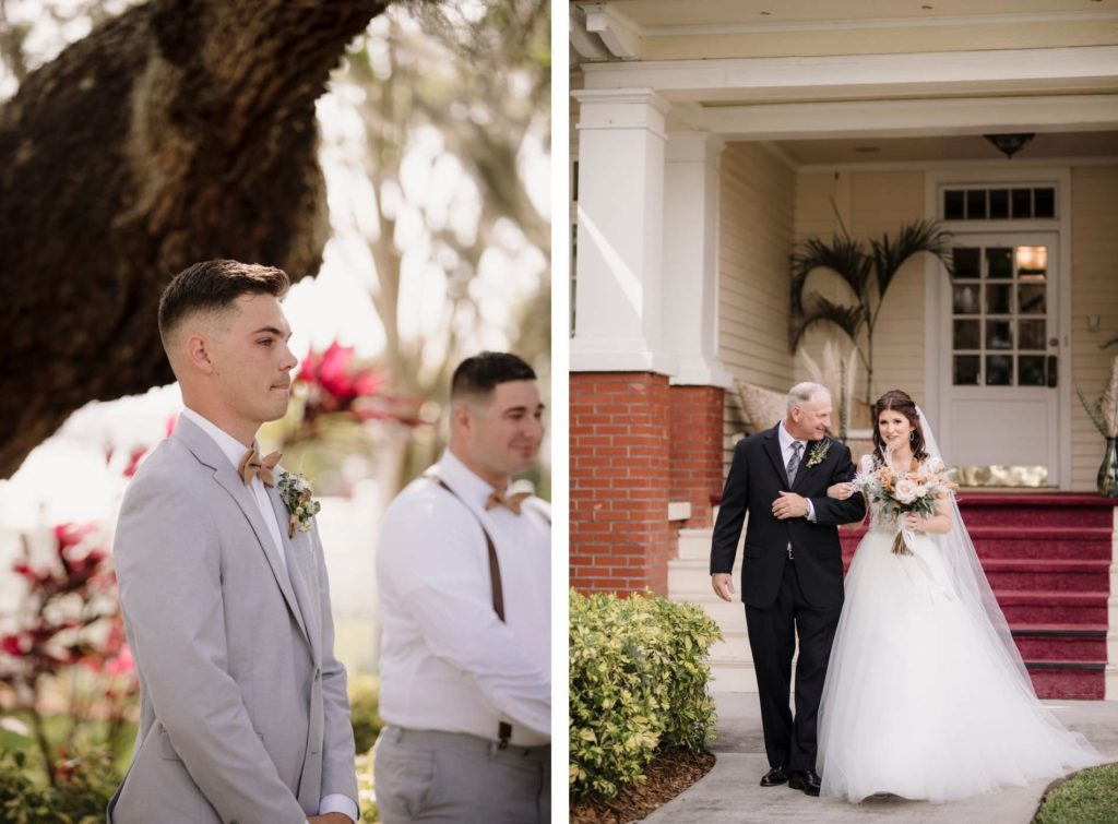 Father Walking his Daughter Down the Wedding Ceremony Aisle   Groom First Look Portrait Reaction