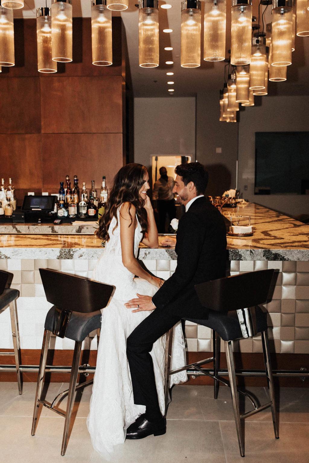 Bride and Groom Hotel Lobby Wedding Portrait | Tampa Wedding Venue The Current Hotel