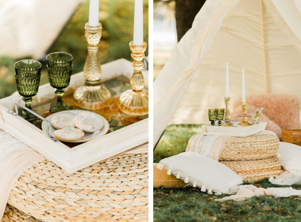 Intimate Wedding Details   White Tent and Bohemian Pillow Set up with Candles and Vintage Touches