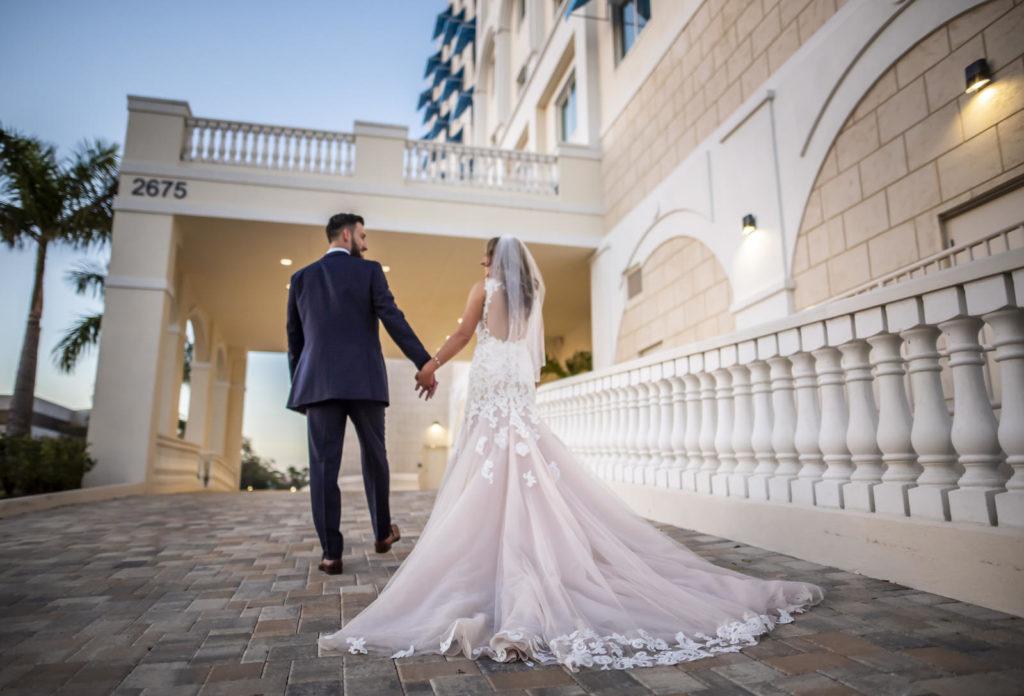 Florida Bride and Groom Outside Tampa Wedding Venue The Karol Hotel