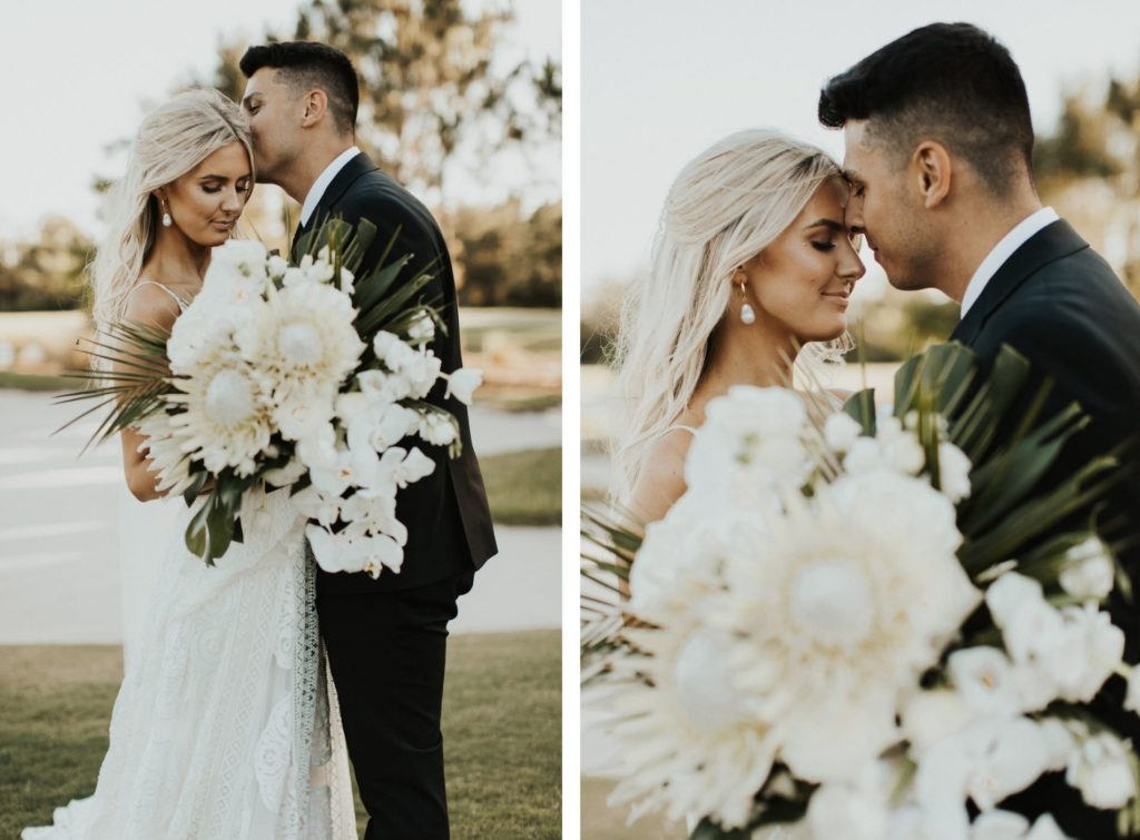 Timeless Bride and Groom   Bride Holding Neutral Lush Floral Bouquet, King Proteas, Ivory Roses, Orchids, Palm Fronds and Monstera Palm Leaves