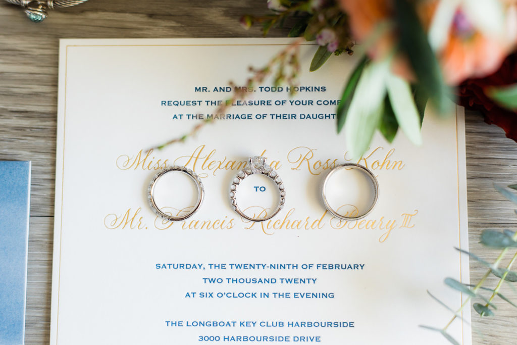Classic White Blue and Gold Wedding Invitation, Bride and Groom Wedding Rings, Engagement Ring