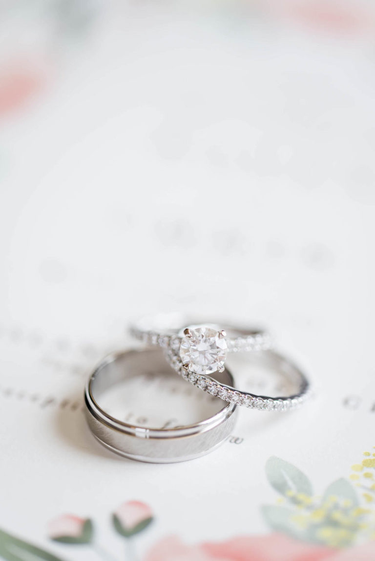 Halo Engagement Ring with silver band | Silver Couples Wedding Bands