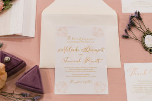 Blush Wedding Invitation with Gold Cursive Lettering