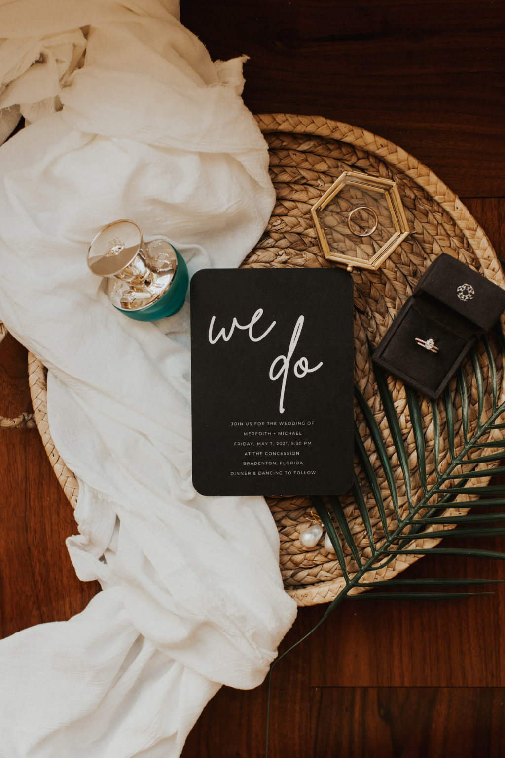 Black Modern Wedding Invitation, Versace Perfume Bottle, Yellow Gold Oval Diamond Engagement Ring in Ring Box