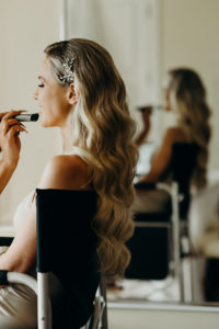 Tampa Bay Bride Getting Wedding Hair and Makeup Done, Loose Waves with Rhinestone Clip