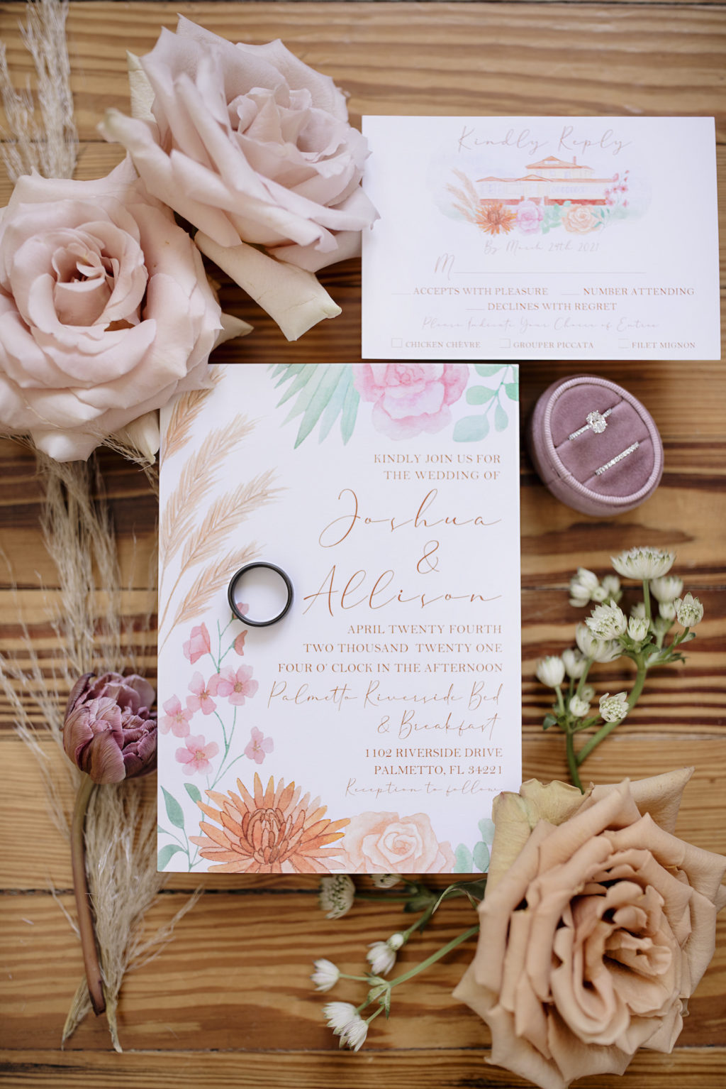 Floral Orange Blue and Pink Boho Inspired Wedding Invitations   Wedding Band on Wedding Invitation with Engagement Ring Box