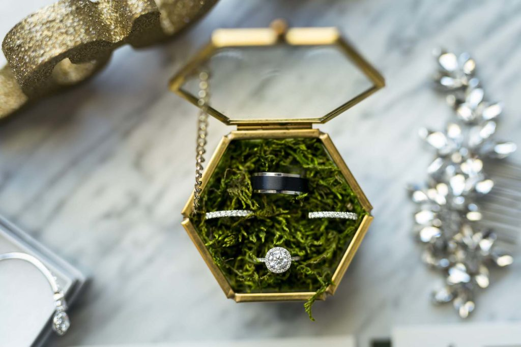 Gold Geometric and Glass Ring Box with Moss, Round Solitaire Halo Diamond Engagement Ring, Bride Wedding Bands, Black Groom Wedding Ring