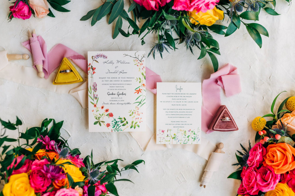 Garden Floral Wedding Invitations with Bright Pink and Vibrant Yellow Florals | Stationery Inspiration