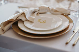 Timeless Elegant Wedding Reception Decor, Gold Charger and Classic White China Dinner Setting, White and Gold Place Card, Champagne Linen Napkin