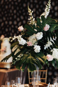 Blush and White Floral Tall Wedding Centerpieces with Tropical Greenery Palm Leaves