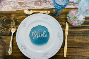 Bride Wedding Plating   White with Gold and Blue Detailing   Wedding Place Settings