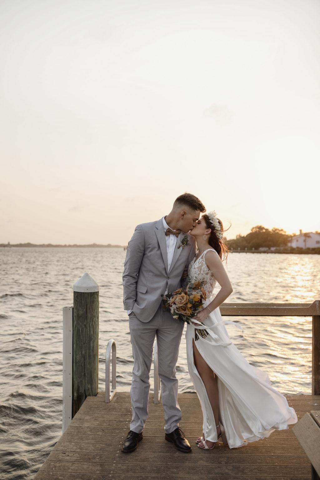Boho Bride and Groom Sunset Wedding Portrait   Sarasota Waterfront Wedding Venue   Planner Kelly Kennedy Weddings and Events   Photographer Alisa Sue Photography