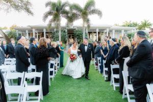 Florida Bride Walking Down the Wedding Ceremony Aisle, Jewish Wedding   Tampa Bay Wedding Outdoor Garden Venue The Resort at Longboat Key Club