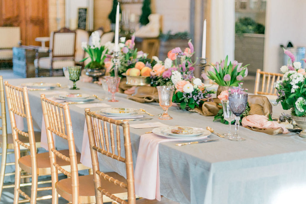 Gold Wedding Chairs with Sheer White Linen   Florida Garden Wedding Tablescape with Floral Details   Covington Farms
