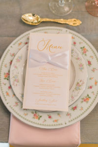 Floral and Vintage Wedding Plating   White with Gold with Menu Detail   Wedding Place Settings