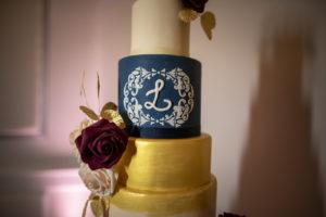 Six Tier Navy Blue, White, and Gold Round Wedding Cake with Monogram | Dessert Ideas