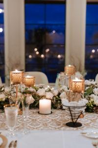 Timeless Elegant Wedding Reception Decor, Gold Candlesticks, White Roses and Greenery Garland