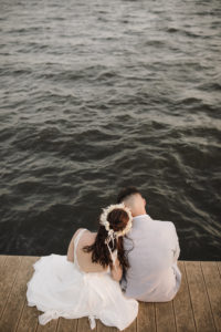 Boho Bride and Groom Wedding Portrait | Sarasota Waterfront Wedding Venue | Planner Kelly Kennedy Weddings and Events | Alisa Sue Photography