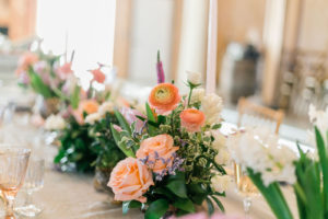 Floral Centerpieces with Variation of Pink and White Flowers with Greenery